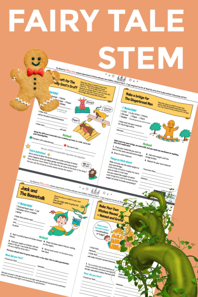 Fairy Tale STEM Challenges with FREE printable instructions.  #worldBookday #STEM #FairyTaleSTEM #STEMChallenges #Scienceforkids