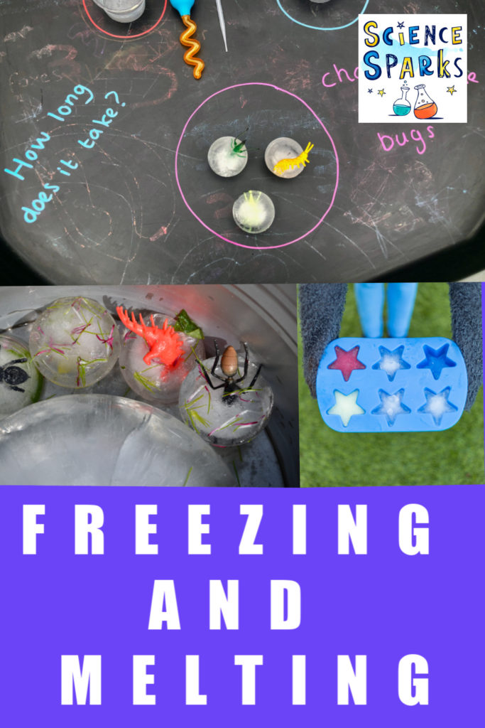 collage of ice experiments for learning about freezing and #melting!#iceexperiments #whatismelting #scinecexperiments