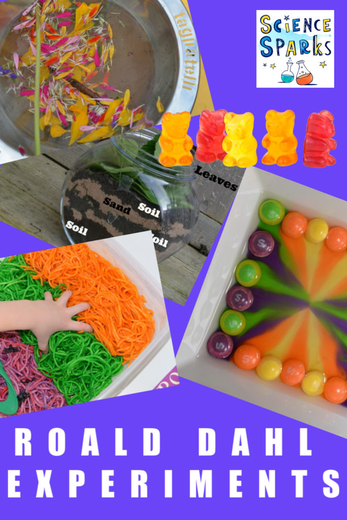 Easy Roald Dahl themed science experiments for kids. Build an upside down house for the Twits. a camouflage for The Enormous Crocodile, Giant Sweet for Willy Wonka and lots more science for kids  #RoaldDahl #Scienceforkids #Scienceexperiments