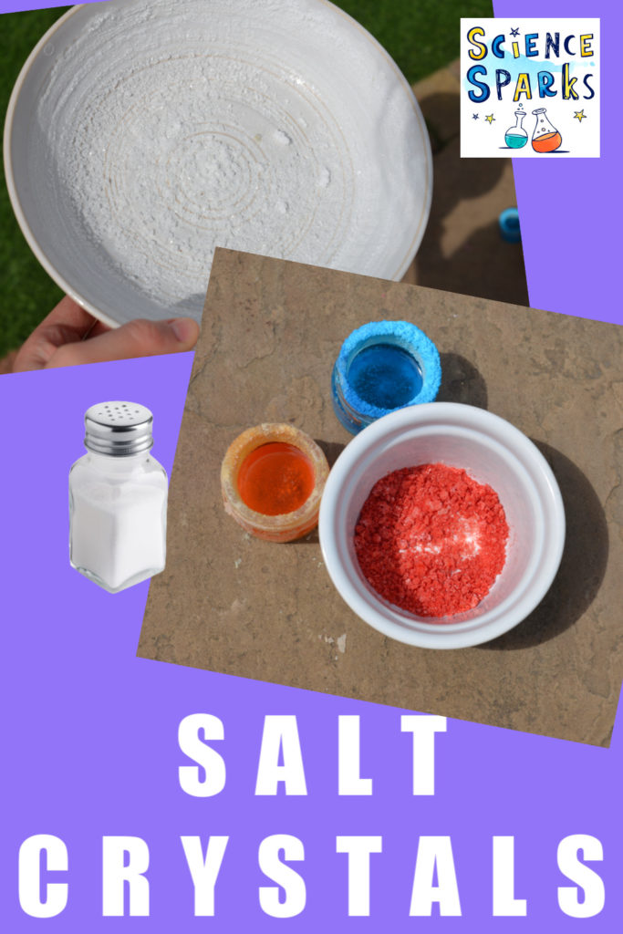 collage of salt crystals, including coloured salt crystals as part of an easy salt science experiment for children #saltexperiments #saltscience #scienceforkids #kitchenscience