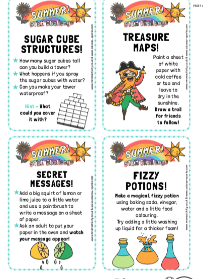 EASY STEM Challenges for kids - Free printable
