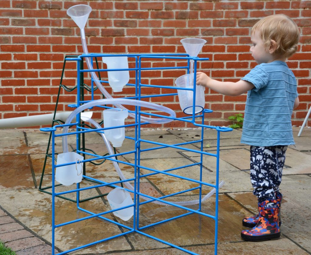Water wall made on a frame with milk cartons