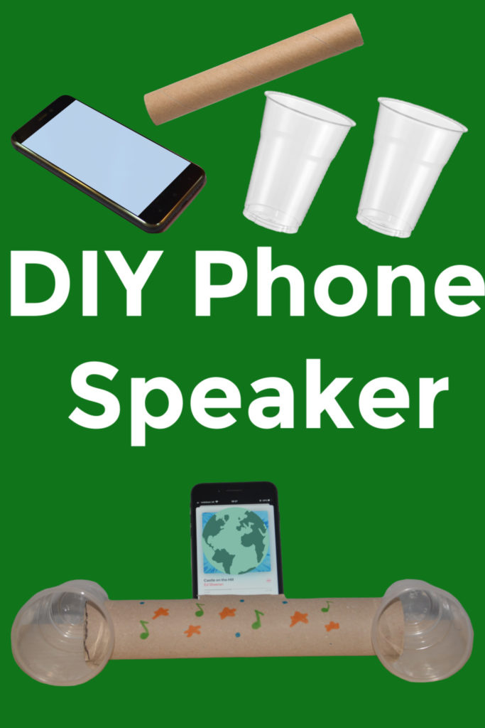 Fun science project for older children. Make a DIY speaker with plastic cups and a long cardboard tube. #scienceproject #techproject