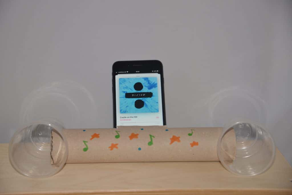 Image of a homemade speaker made using a cardboard tube and two plastic cups
