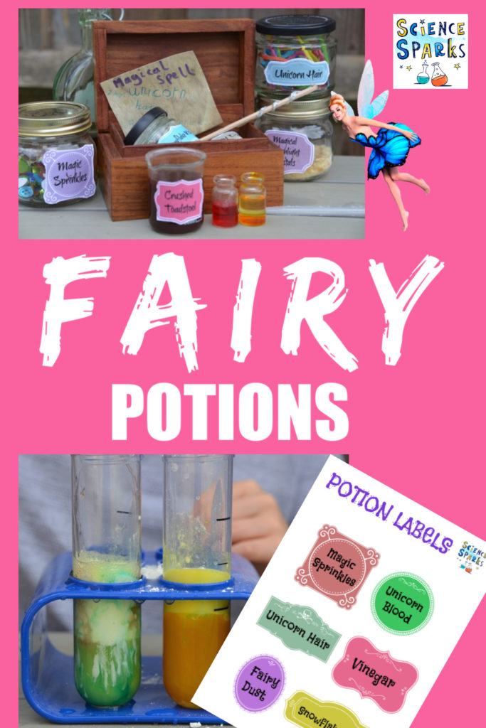 Make magical fairy potions with baking soda and vinegar....fun potions for kids #potions #fairypotions #bakingsodapotions