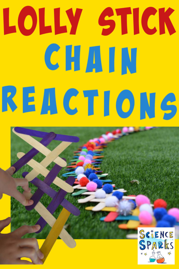 craft stick chain reactions set up with pom poms on the craft sticks