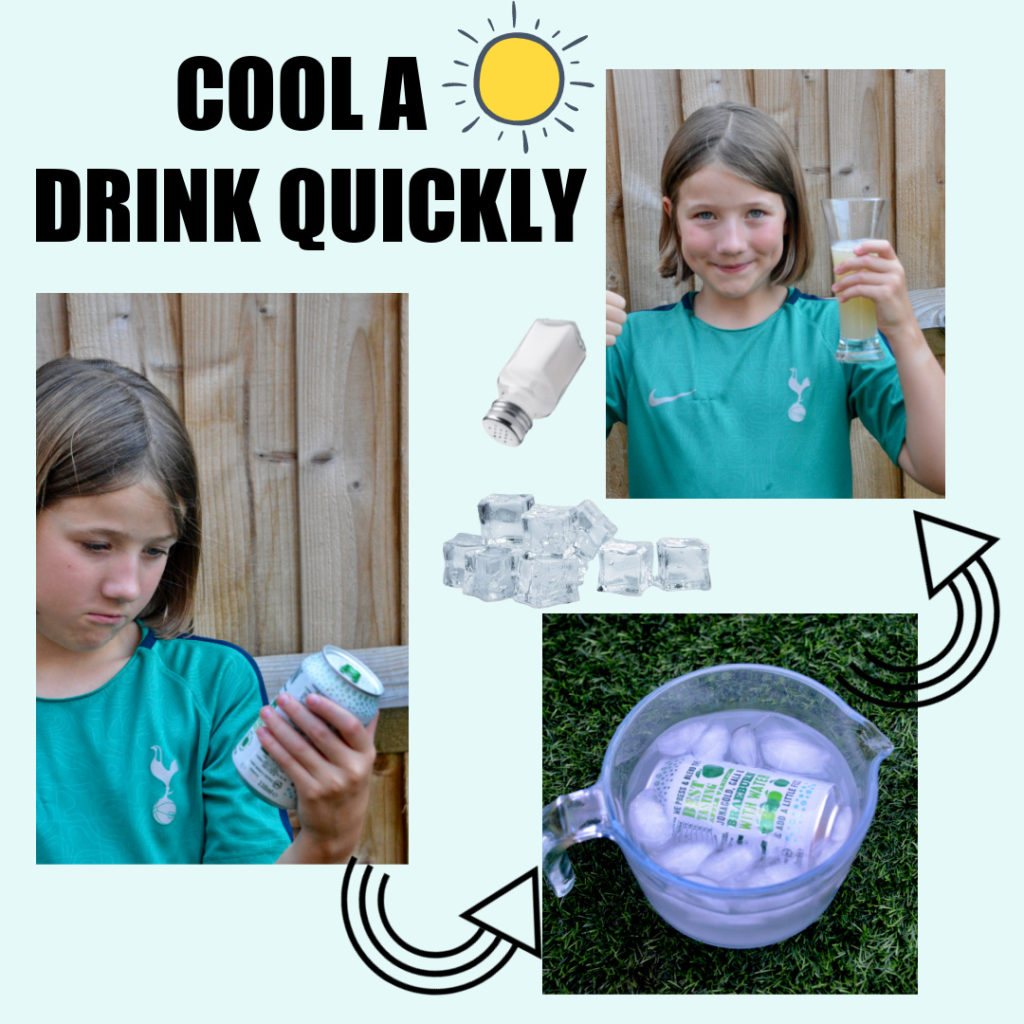 cool a drink quickly using ice and salt #supercool #iceexperiments #scienceforkids #scienceexperiments