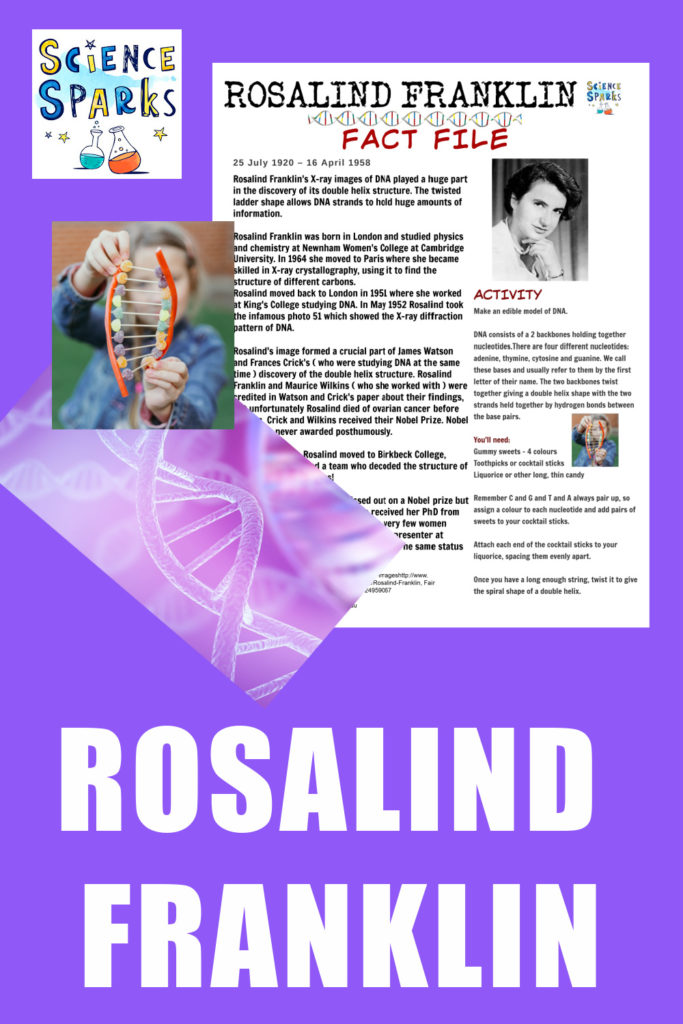 Rosalind Franklin Fact file and associated activity #womenscientists #RosalindFranklin