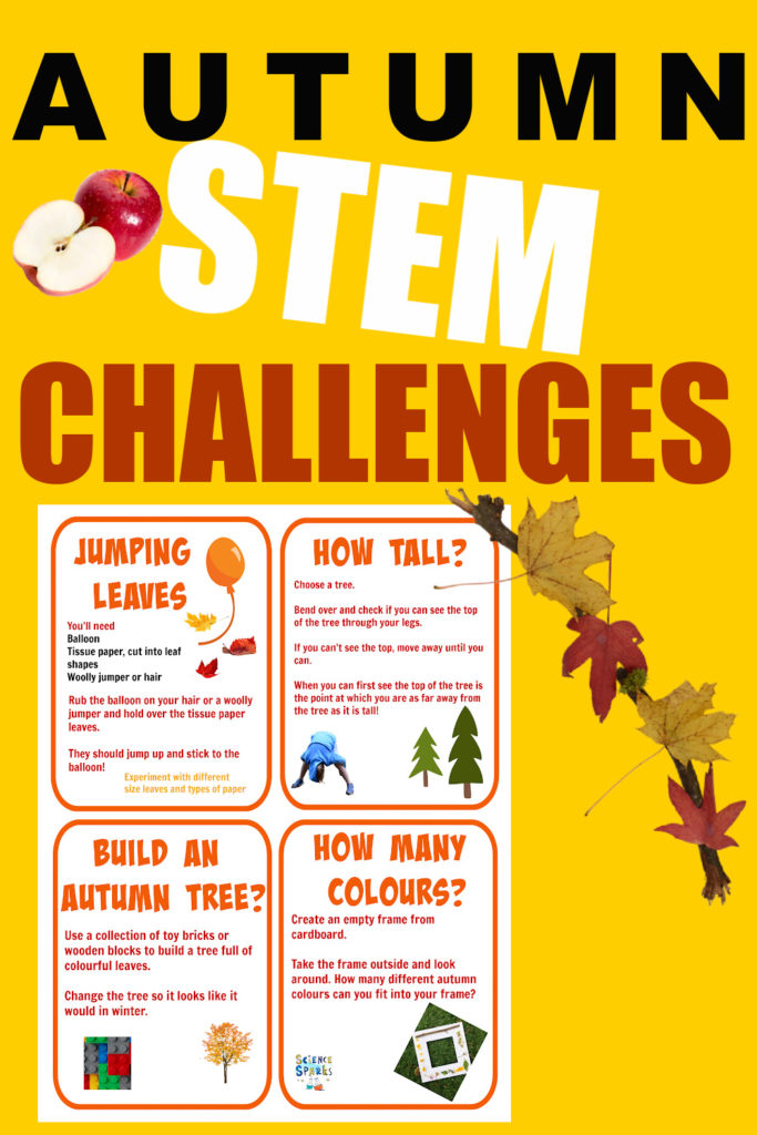 Image of printable autumn STEM challenges for kids. Includes finding out how tall trees are, making leaves jump and more STEM for kids