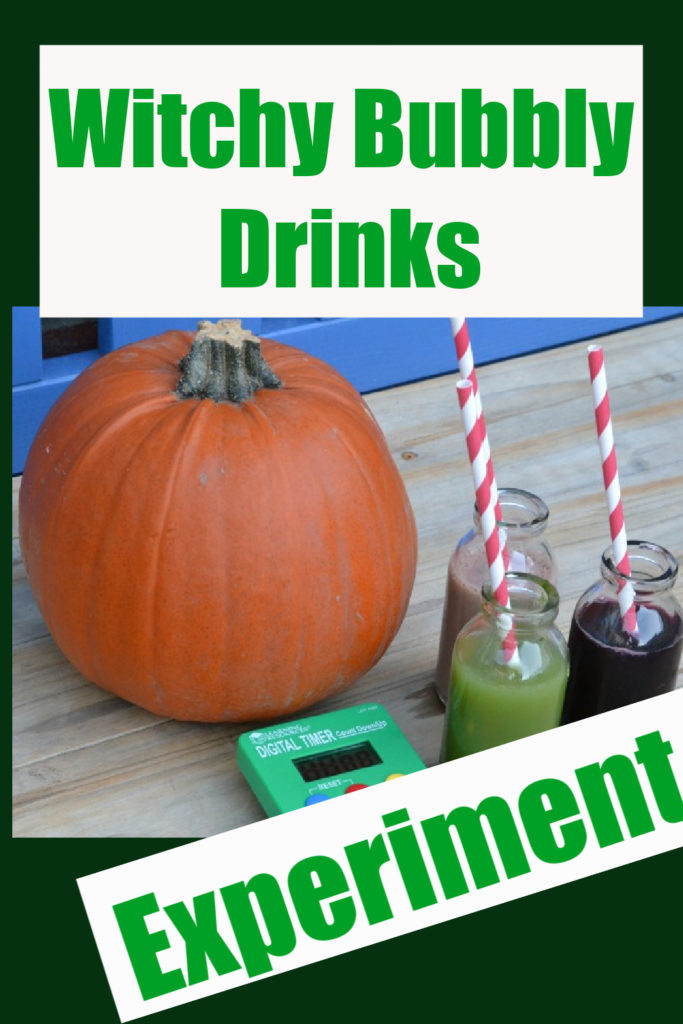 Make bubbly drinks to learn about the scientific method #scienceforkids #funscience #halloweenscience