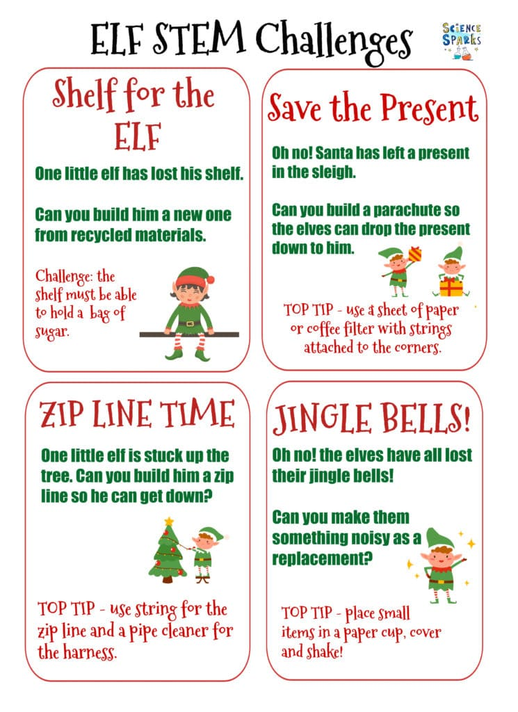 ELF STEM Challenges for kids - free printable STEM