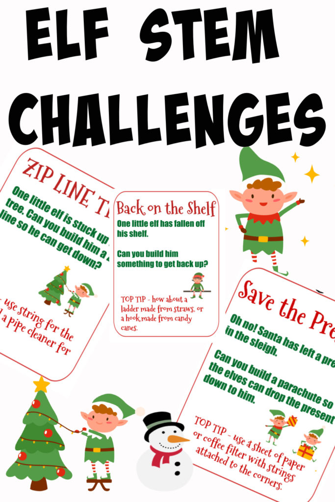 Easy ELF STEM Challenges. Fun Christmas STEM Challenges for kids  #ChristmasScience #STEMChallenges #ChristmassTEM