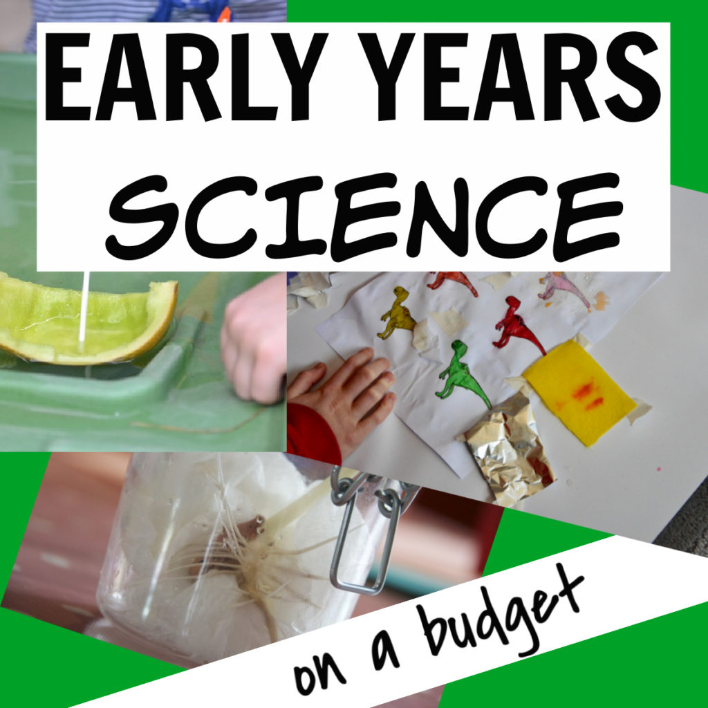 Science for Early Years on a budget! Make and test boats, grow a bean in a jar, waterproof a dinosaur and lots more easy early years science activities #scienceforkids #preschoolscience #earlyyearsscience