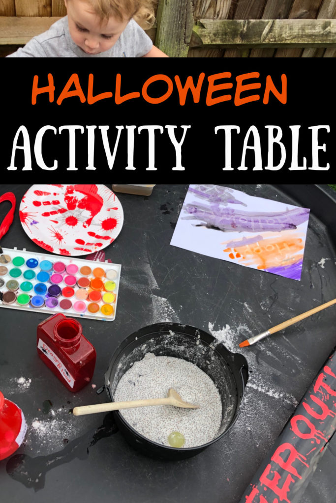 tuff tray with Halloween potions and other activities for kids