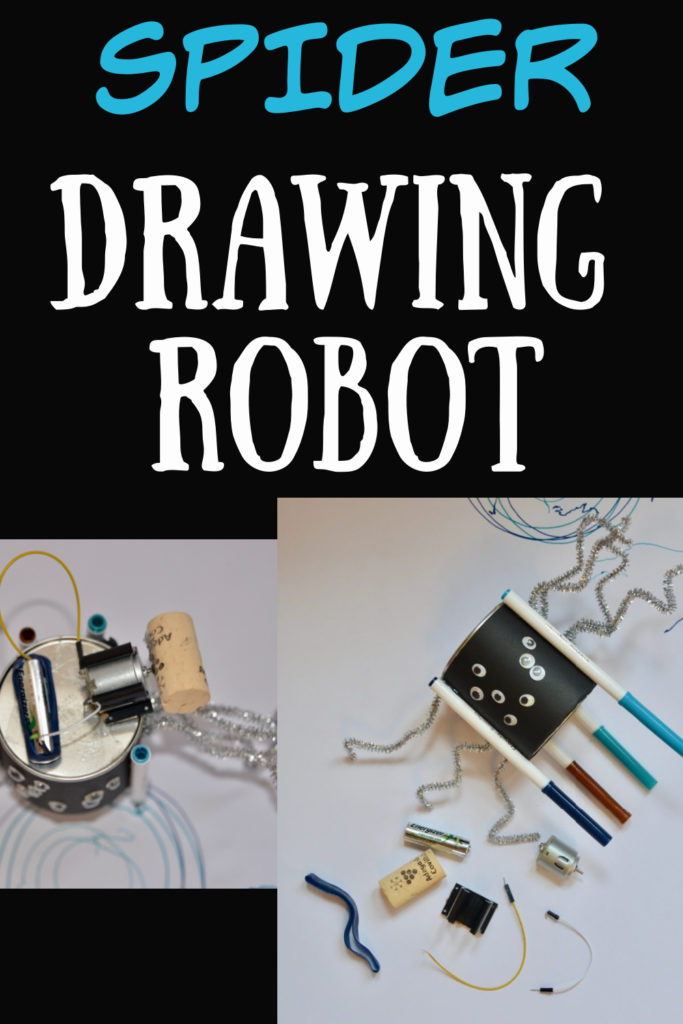 Easy drawing Robot for Halloween - fun electricity activity for kids. Create a circuit with a motor to make a cork spin and the robot draw #Halloween #Spidercrafts #Halloweencrafts #Halloweenactivities