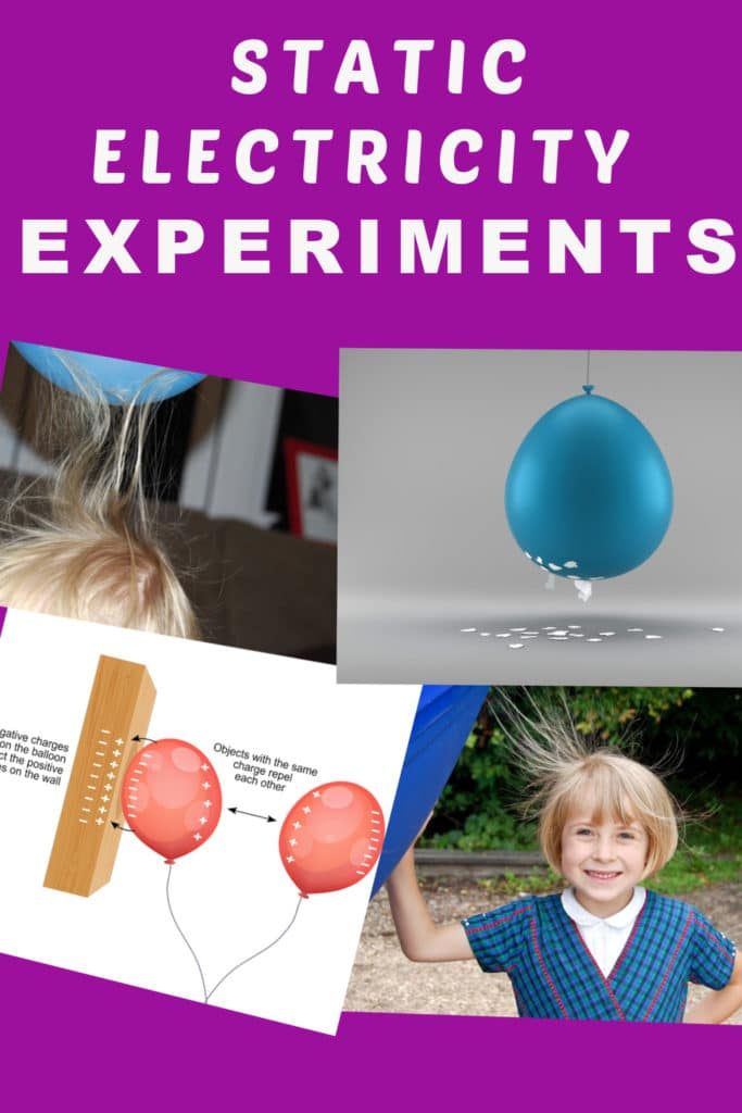 Easy static electricity experiments for kids #scienceforkids #staticelectricity - bend water, stick up hair and more