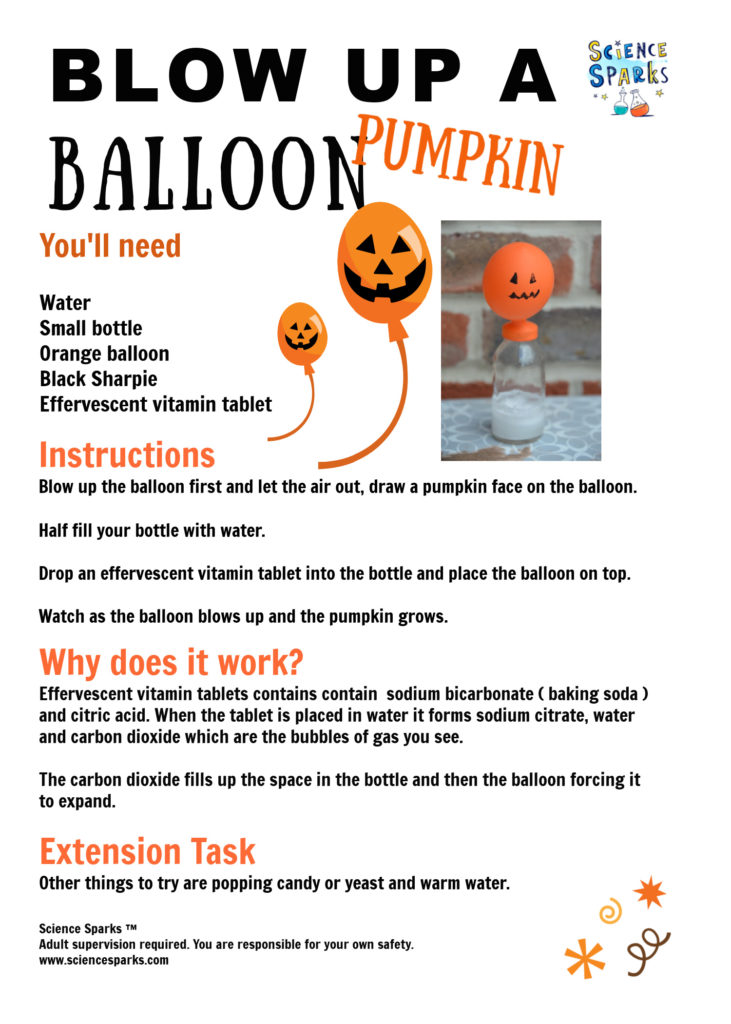 Blow up a pumpkin balloon as a fu science experiment for Halloween