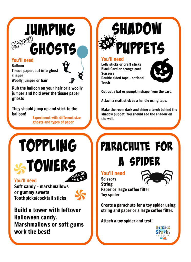 FREE printable Halloween STEM Challenges for kids