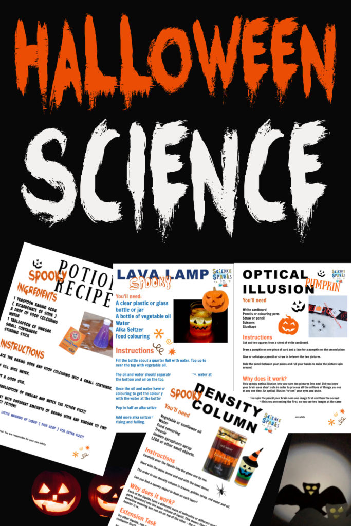 Printable Halloween Science Experiments - includes lava lamps, optical illusions, potion recipes and more Halloween science #Halloweenscience #experimentprintables