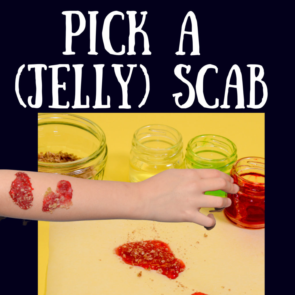 what is a scab - image of a jelly scab to find out. Example of a science question kids ask