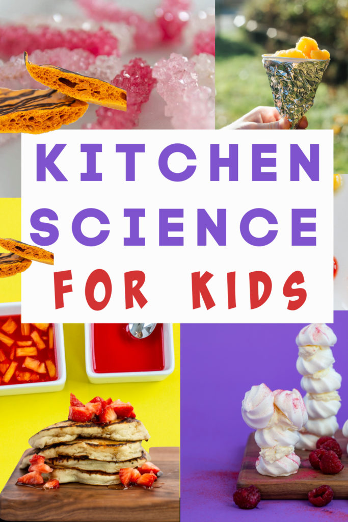 Brilliant collection of Kitchen Science Experiments for kids. Make honeycomb, blow up a balloon with yeast, make meringue, find out why pineapple stops jelly science and more kitchen science experiments #kitchenscience #scienceforkids #cookingforkids