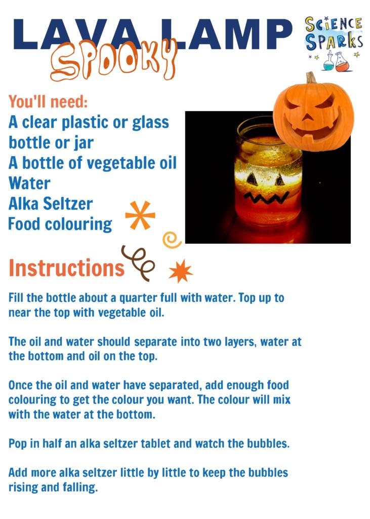 pumpkin lava lamp experiment instructions
