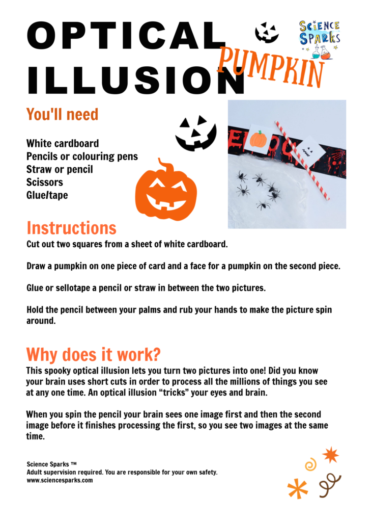 Halloween optical illusion experiment printable sheet