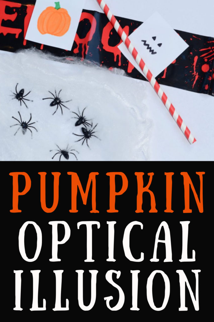 Easy pumpkin optical illusion. Make a face appear on a pumpkin with this easy trick and spooky science experiment for Halloween #Halloween #Halloweenscienceprojects #HalloweenCrafts #opticalillusions