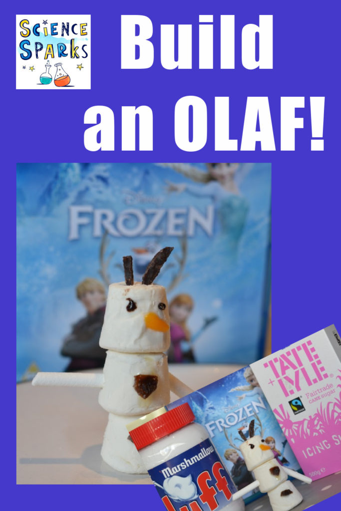 Build an OLAF, fun frozen science experiment for kids. #Ediblescience #Frozenscience #Scienceforkids #winterscience #ChristmasScience
