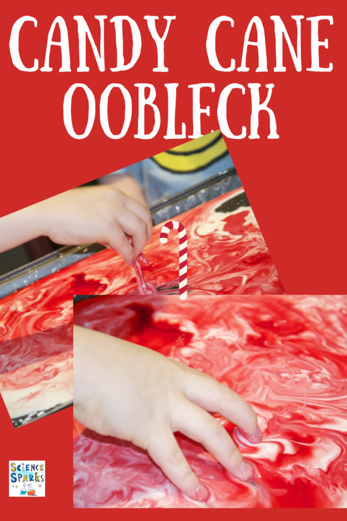 Make beautiful peppermint smelling candy cane oobleck. Squish it, let it run through your fingers or gently swirl it - fun Christmassy,sensory activity for kids. #ChristmasScience #Ooobleck #Christmasoobleck