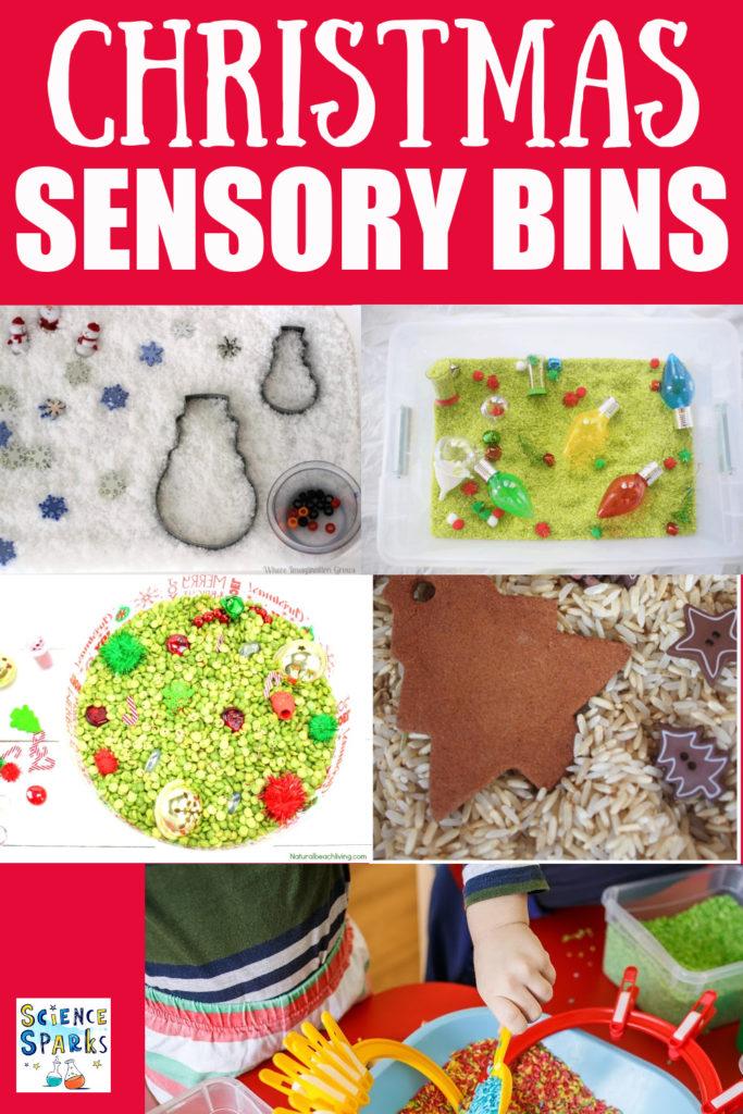 Easy ideas for Christmas sensory bins - fun Christmas ideas for toddlers #toddlerChristmas #sensorybins