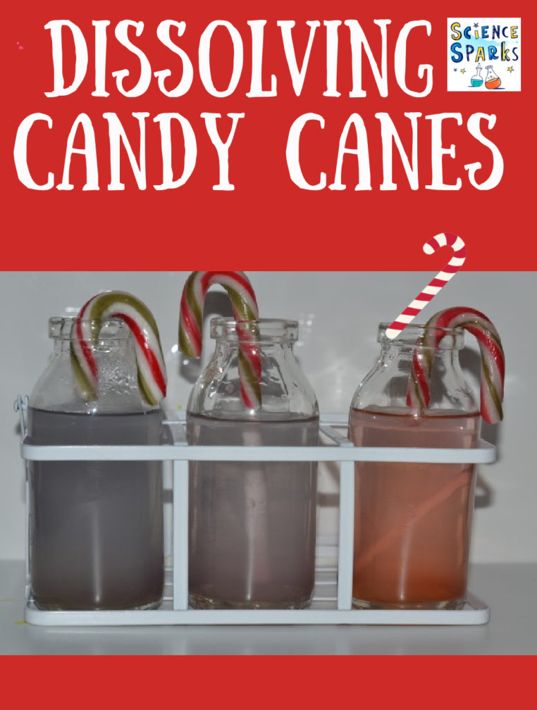 Find out what happens when you place candy canes in different liquids.  Fun Christmas science activity for kids #ChristmasScience #Scienceforkids #CandyCaneScience