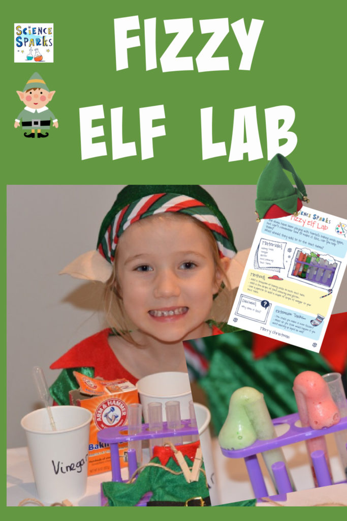 Fun Fizzy Elf Lab - set up an elf lab using baking soda, vinegar and food colouring. Fun Christmas Science Experiment for kids #Elfscience #Elfontheshelf #ChristmasScience #Scienceforkids