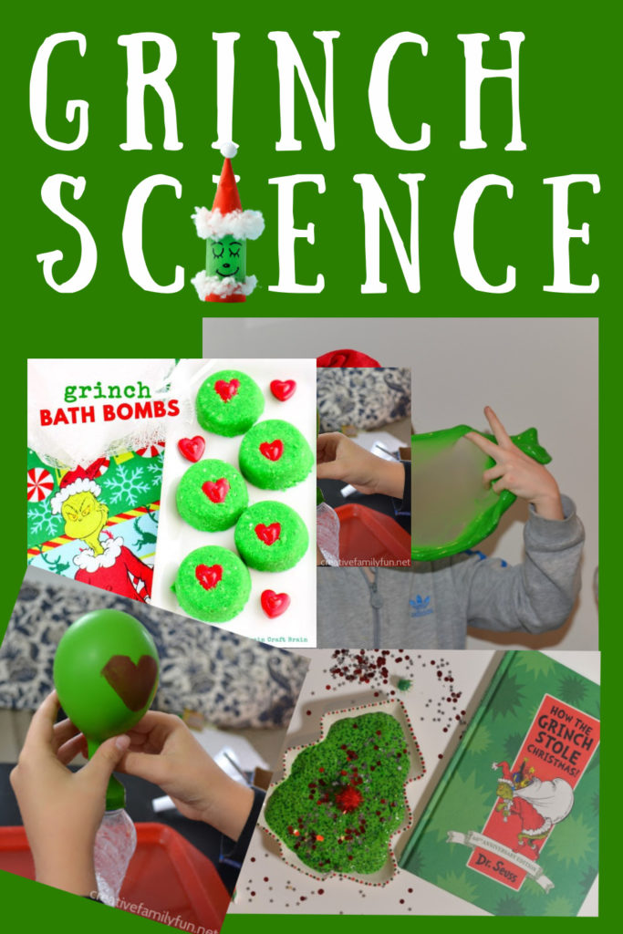 Grinch themed science experiments for kids. Make Grinch slime, Grinch bath bombs and more Grinch activities for kids #ChristmasScienceExperiments #TheGrinch #GrinchScience