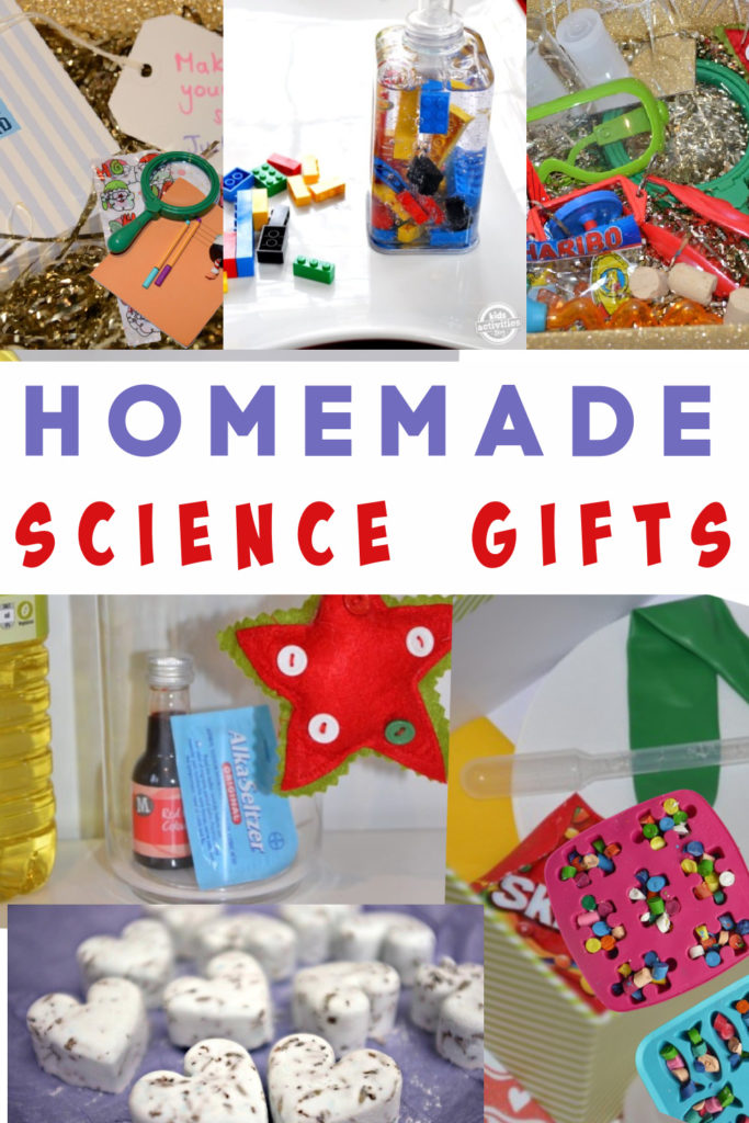 Easy homemade science gifts for kids and adults. Make bath bombs, lego soap, crayons, edible bark and more! #sciencegifts #homemadeChristmas #Homemadegifts