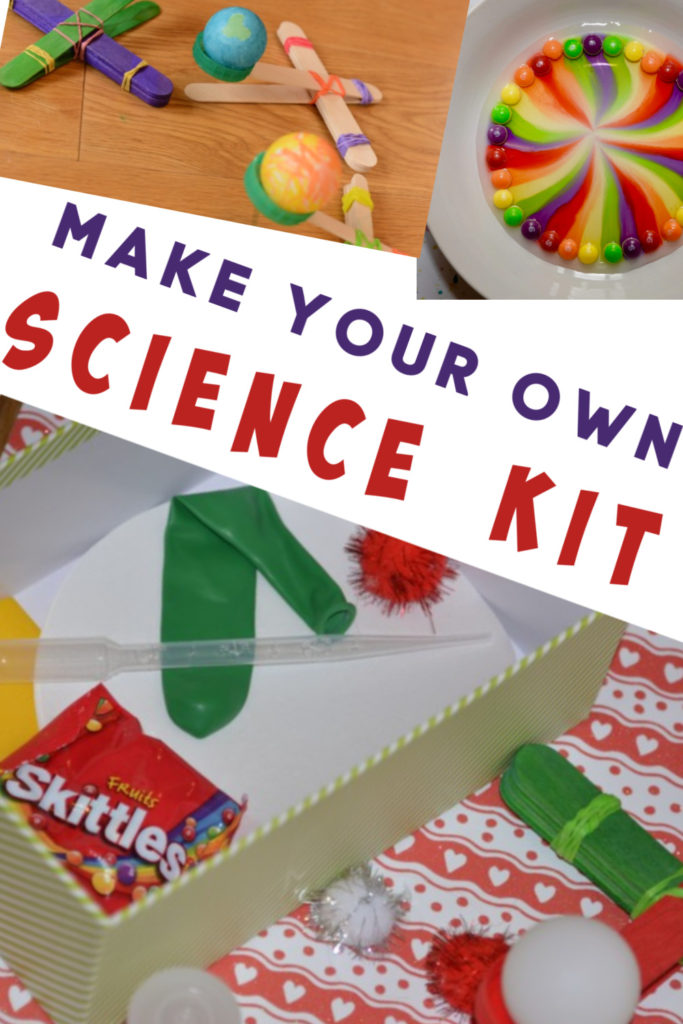 Make your own science kit! Includes colourful skittles, lollystick catapult static electricity and film canister rockets #sciencekit #scienceforkids #homemadesciencekit