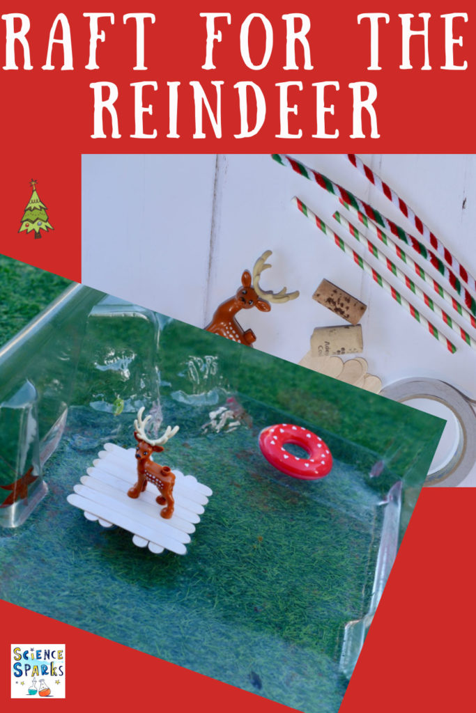 Reindeer STEM Challenge. Fun Christmas reindeer themed activity for kids! Save a reindeer by designing, building and testing rafts #ChristmasSTEM #ChristmasScience #Scienceforkids