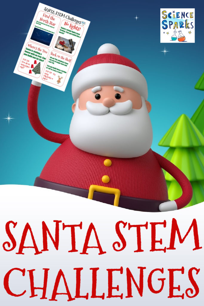 Festive Santa STEM challenges. Build a raft for the reindeer.  a shelf for an elf, a present catapult and lots more Christmassy science #ChristmasSTEM for kids