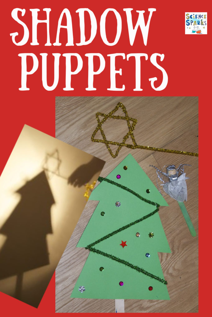 Make Christmas shadow puppets to learn about light as a fun Christmas craft and science activity for kids #Christmasscience #Christmascrafts #shadows #shadowpuppets