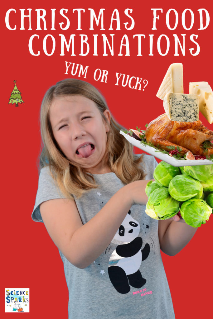 Christmas Food Combinations - fun Christmas food science for kids, is Christmas food yum or yuck? What do your tastebuds think?#ChristmasScience #ChristmasFood