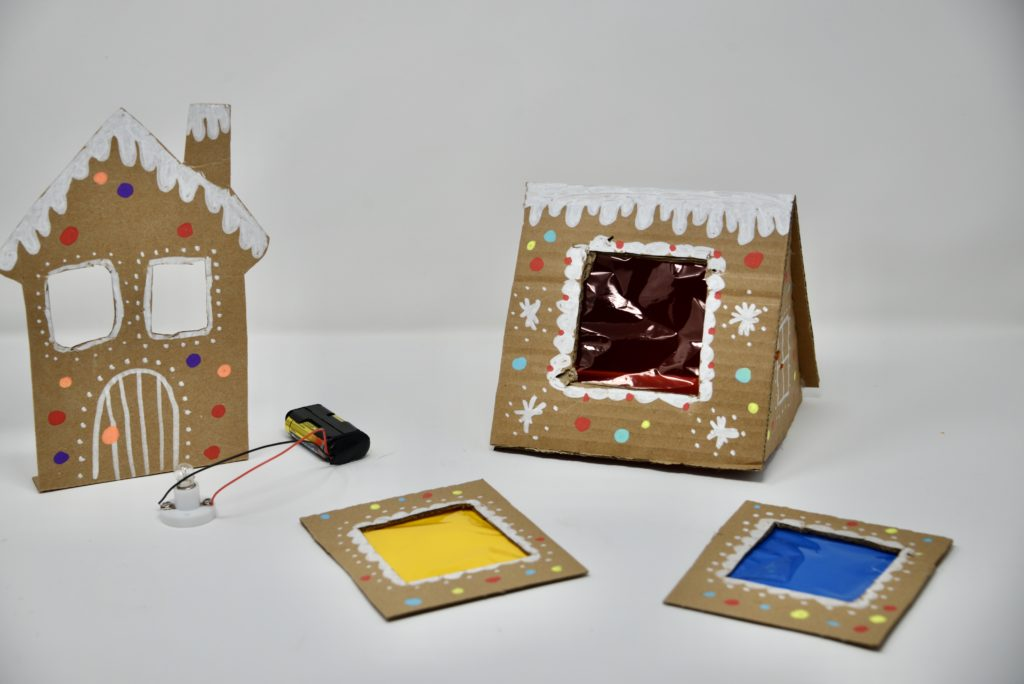 Light up gingerbread house science activity