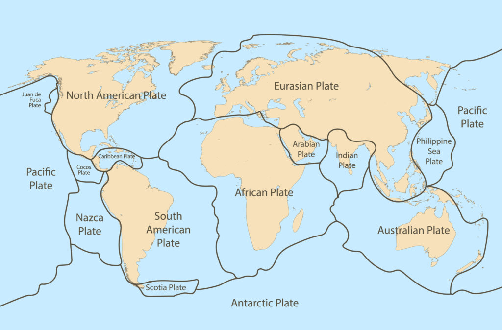 Diagram showing the Earth's tectonic plates. tectonic plate boundaries