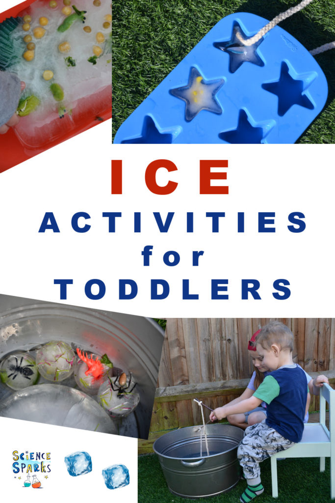 Image showing lots of ice activities for toddlers and preschoolers. Toy fish frozen in ice, ice excavations and more ice experiments for little ones.
