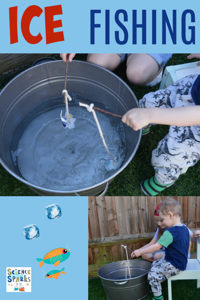 Freeze plastic fish in ice with string and tie a stock to the end to make fishing rod. Time how long it takes to melt each ice in different temperature water #icefishing #iceexperiments #scienceforkids #winterscience