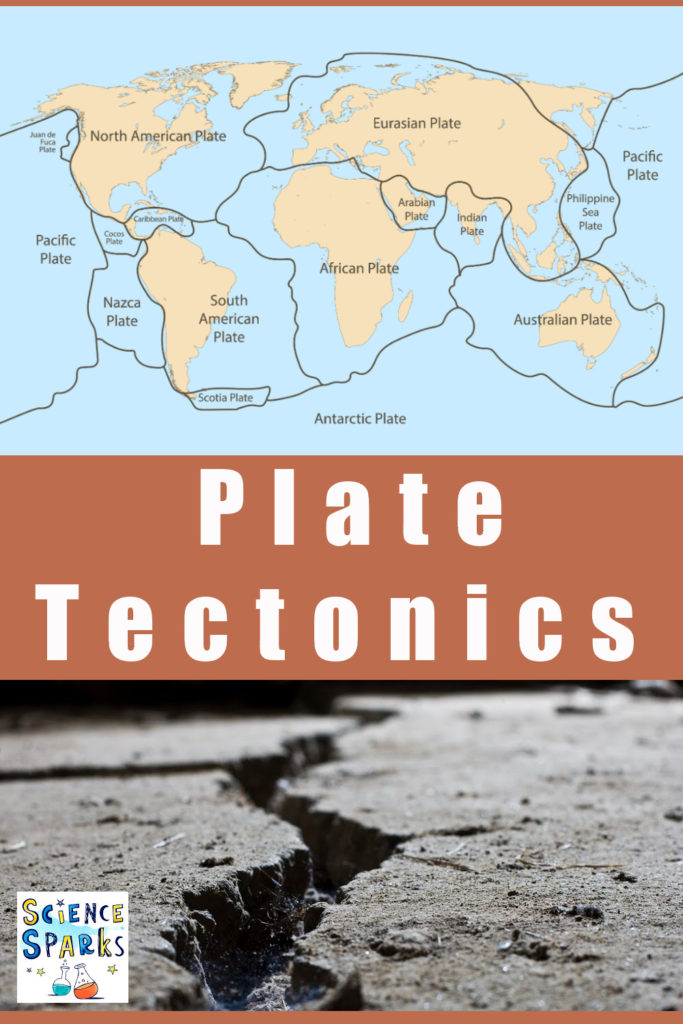 Image showing a diagram of the Earth's plate boundaries and a craxk in the