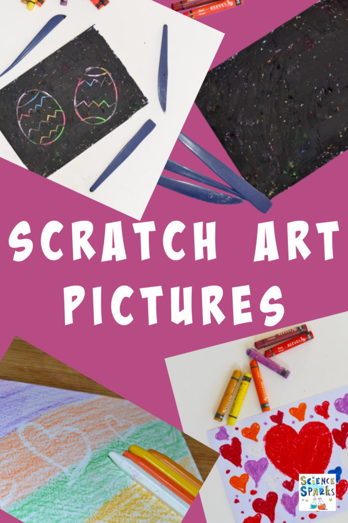 collage image of homemade scratch art pictures made using oil pastels.