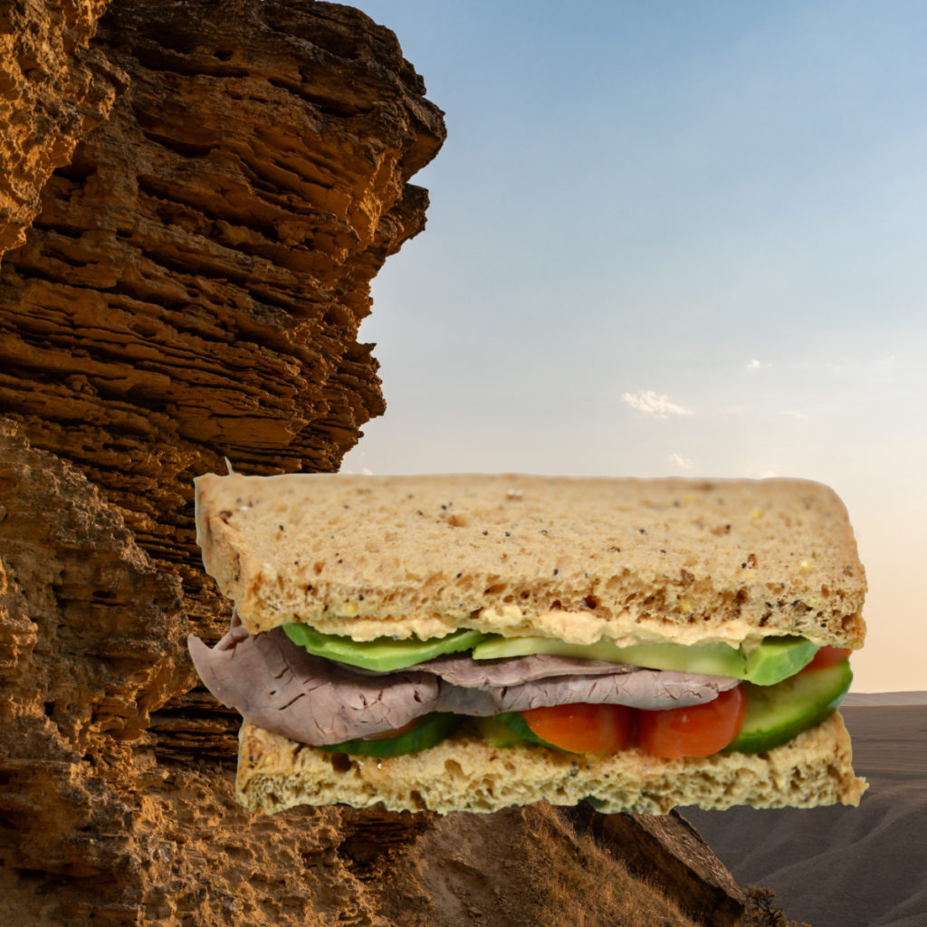 Sedimentary sandwich made to demonstrate how sedimentary rocks form