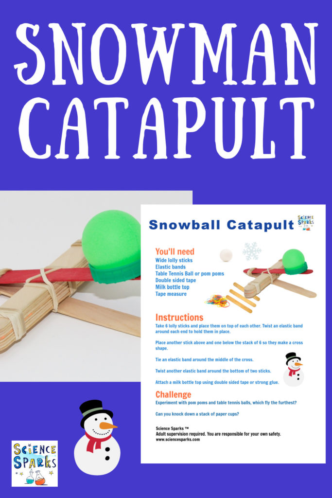 image of a snowman lolly stick catapult