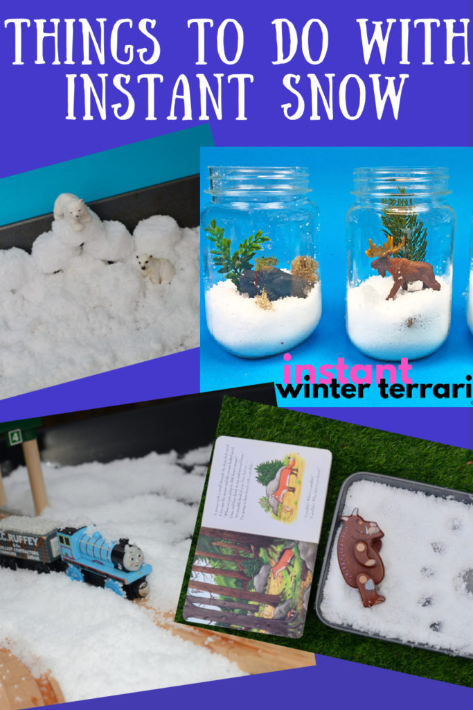 Things to do with instant snow - make a Gruffalo scene, thomas snow scene, terrarium and more instant snow activity ideas