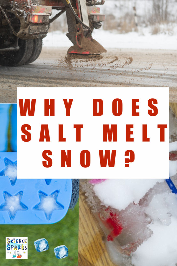 Why does salt melt snow? Image of a grit truck and ice cubes with salt sprinkled on top to melt the ice.